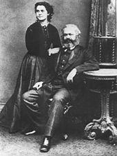 Karl Marx com sua mulher, em foto de 1869